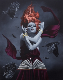 witch, witch art, spell, ravens, book, black abbey studio