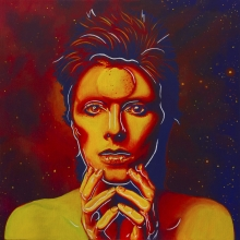 Starman, bowie, black abbey studios, art, painting, cosmos, space