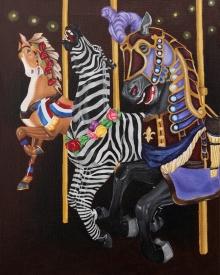 Carousel, horses, Nunley's, Black Abbey Studio, art, zebra, painting