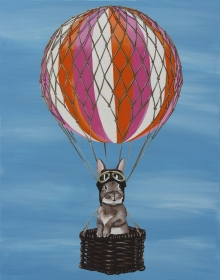Black Abbey Studios, bunny, rabbit, whimsy, cute, hot air balloon