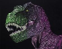 ElectroRex, dinosaur, trex, t-rex, electro, surreal art, black abbey studios