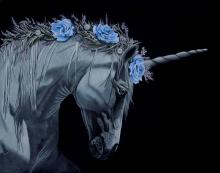 Faithful Friend, unicorn, friend, magic, garden, white rose, black abbey studios