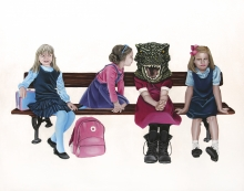 Freaks, Dinosaur, T-Rex, Girls, School girls, children, costumes