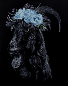 King Puck, goat, witch, garden, roses, crown, black abbey studios