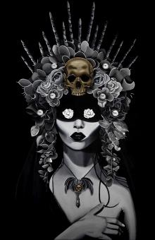 Lady, White Rose, Garden, Witch, Magic, Goth, headdress, Black Abbey Studios