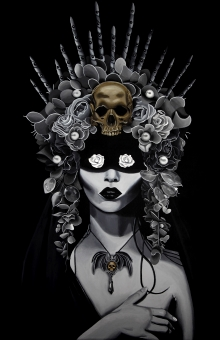 Lady, White Rose, Garden, Witch, Magic, Goth, headdress, Black Abbey Studios