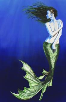 mermaid, sea, sea life, green, flowing, pretty, black abbey studios