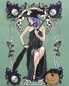 Black Abbey Studios, witch, art nouveau, spell, halloween, raven